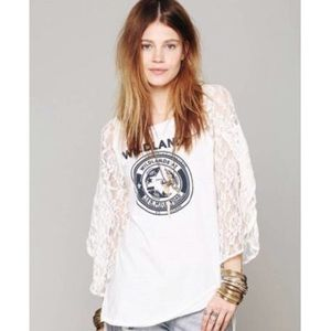 Free people wild lands lace sleeve tee